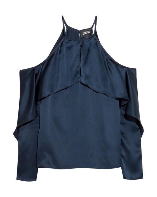 Cushnie et Ochs   Blue Florence Cold-shoulder Silk-satin Top   Lyst
