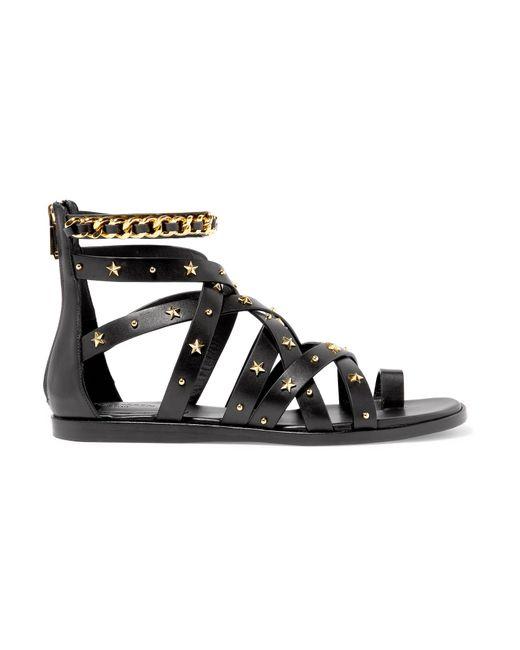 Balmain - Black Embellished Leather Sandals - Lyst