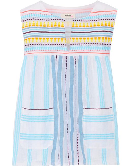 Lemlem - Blue Edna Striped Cotton-gauze Top - Lyst