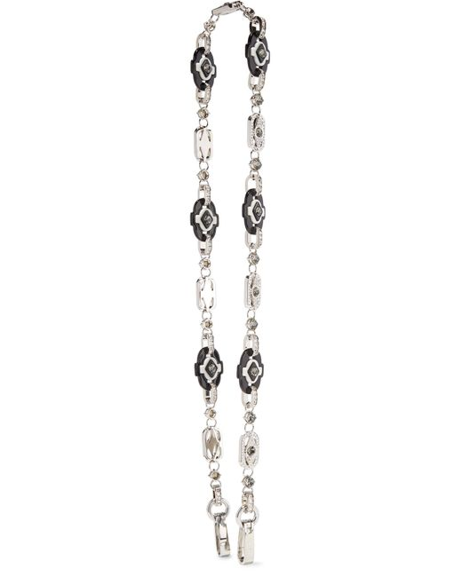Prada | Metallic Silver-tone, Swarovski Crystal And Resin Bag Strap | Lyst