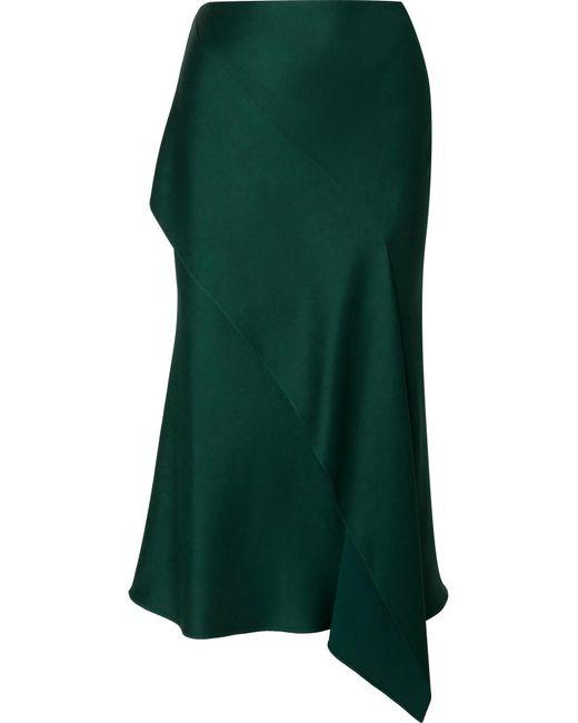 Jason Wu - Green Draped Satin-crepe Midi Skirt - Lyst