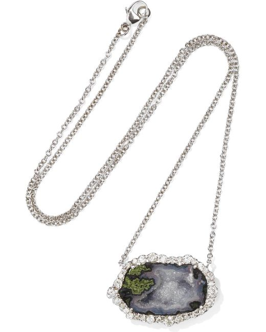 Kimberly Mcdonald - Metallic 18-karat White Gold, Geode And Diamond Necklace White Gold One Size - Lyst