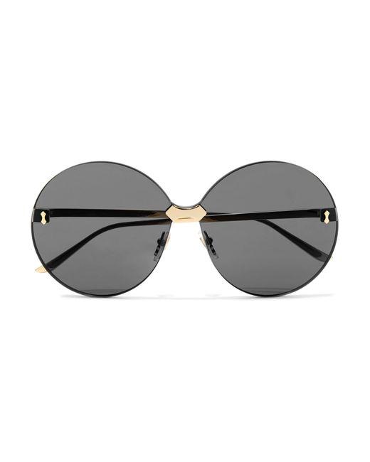 ea382d70f26 Gucci Round-frame Gold-tone Sunglasses in Gray - Lyst