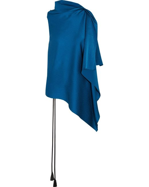 Roland Mouret | Blue Tavistock Draped Hammered Silk-satin Top | Lyst