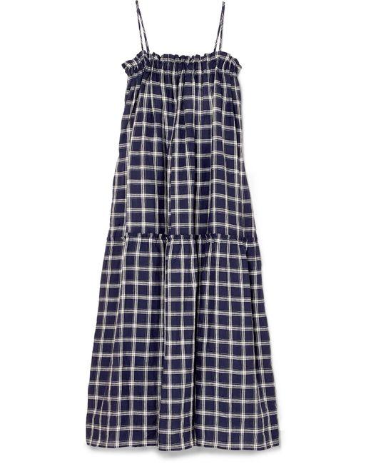 Lee Mathews - Blue Nellie Checked Cotton Maxi Dress - Lyst