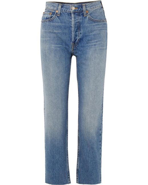 Re/done - Blue Originals High-rise Stove Pipe Straight-leg Jeans - Lyst