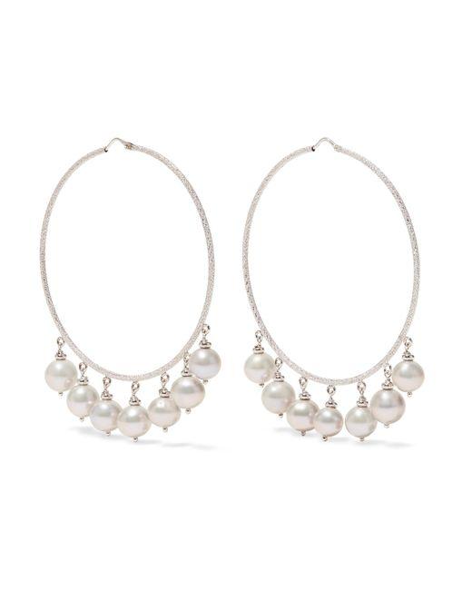 Carolina Bucci   Recharmed 18-karat White Gold Pearl Hoop Earrings   Lyst