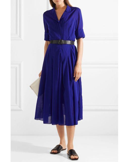 b6f131983f ... Akris - Blue Belted Wool-voile Midi Dress - Lyst ...
