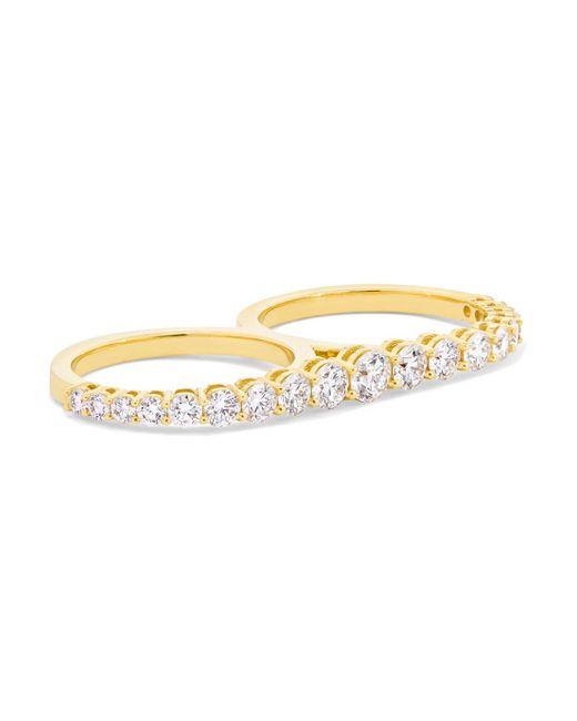 Melissa Kaye - Metallic Aria 18-karat Gold Diamond Two-finger Ring - Lyst