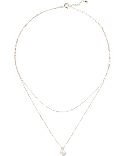 Mizuki   Metallic 14-karat Gold, Freshwater Pearl And Diamond Necklace   Lyst