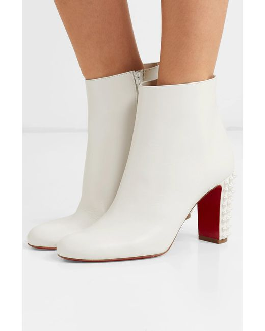 54d14fd11bb6 ... Christian Louboutin - White Suzi Folk 85 Spiked Leather Ankle Boots -  Lyst ...