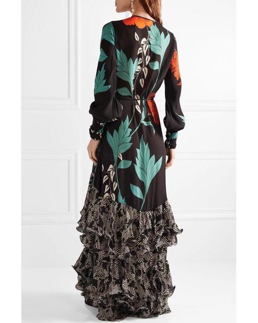 Book Of Tang Ruffled Floral-print Silk-chiffon Wrap Dress - Black Johanna Ortiz iJCu9OKKU