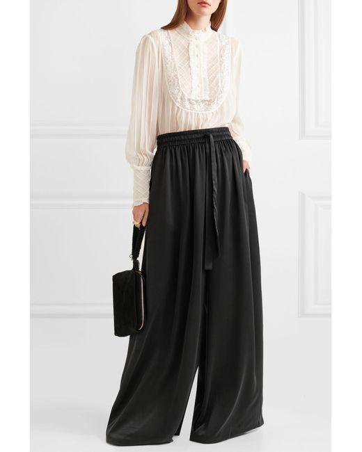 491ec47b5e ... Zimmermann - Black Washed-silk Wide-leg Pants - Lyst ...
