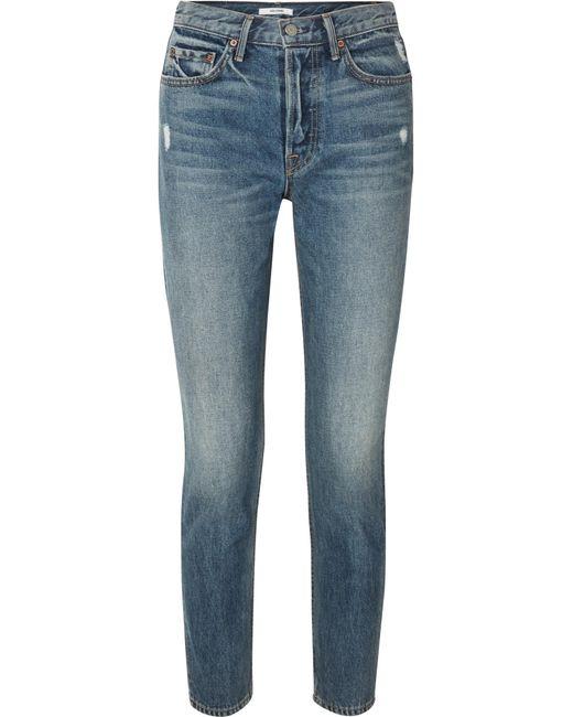 GRLFRND - Blue Karolina Distressed High-rise Skinny Jeans - Lyst