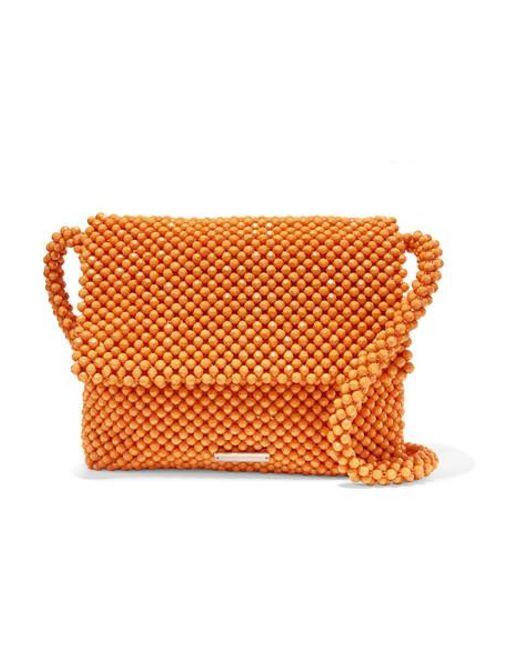 51cd69165e Loeffler Randall - Orange Sac Porté Épaule En Satin À Perles Roz - Lyst ...