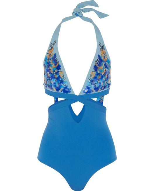 La Perla | Blue Floral Rhapsody Sequin-embellished Cutout Halterneck Swimsuit | Lyst