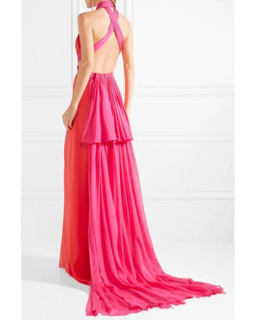 Gathered Two-tone Silk-chiffon Halterneck Gown - Papaya Brandon Maxwell kZnrN