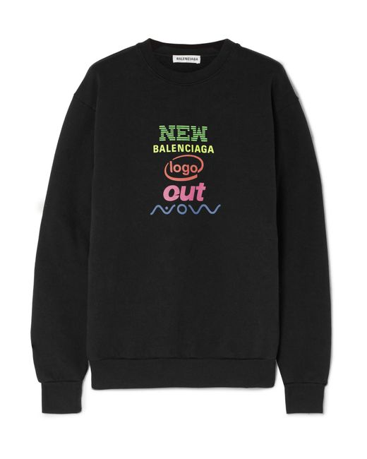 Balenciaga - Black Printed Cotton-blend Jersey Sweatshirt - Lyst