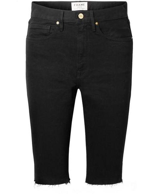 ca31039342 FRAME - Black Le Vintage Bermuda Frayed Denim Shorts - Lyst ...