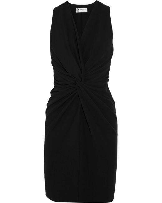 Lanvin | Black Twist-front Crepe Dress | Lyst