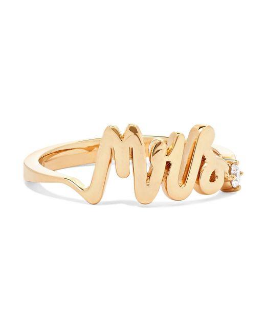 Alison Lou - Metallic Mrs 14-karat Gold Diamond Ring - Lyst
