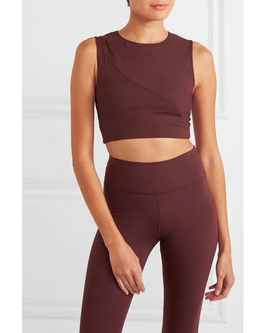 12ebd2984d3a81 ... Nike - Purple Pro Hypercool Cropped Ribbed Stretch-jersey Top - Lyst ...