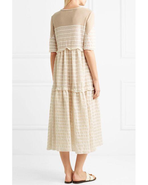 Outlet Tiered Striped Metallic Stretch-knit Midi Dress - Cream Sonia Rykiel Cheap Genuine sU2Op