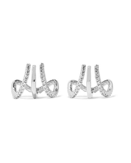 Kenneth Jay Lane | Metallic Silver-tone Cubic Zirconia Triple Hoop Earrings | Lyst