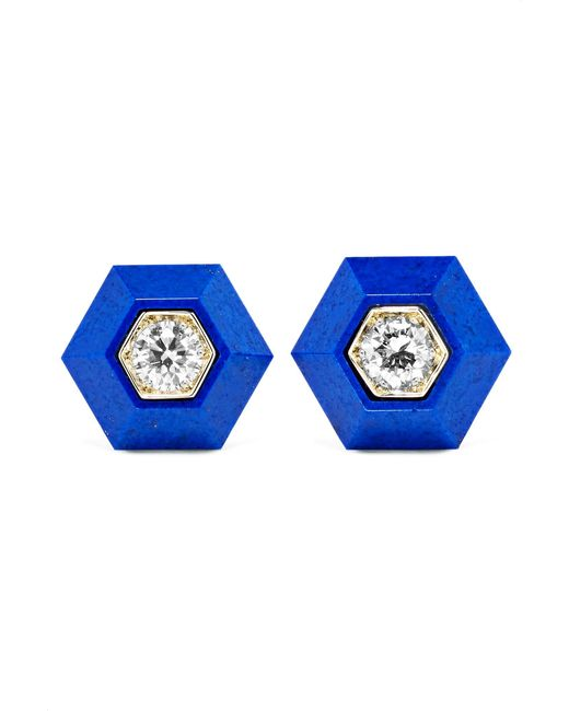 Fred Leighton | Metallic Collection 18-karat White Gold, Lapis Lazuli And Diamond Earrings | Lyst