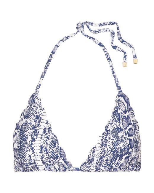 89c616e78276a Heidi Klein - Blue Kenya Scalloped Snake-print Triangle Bikini Top - Lyst  ...