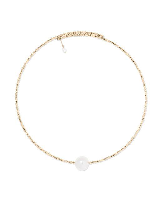 Mizuki - Metallic 14-karat Gold Pearl Choker Gold One Size - Lyst