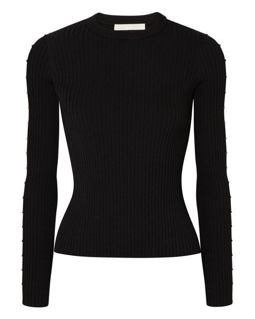 Jonathan Simkhai - Black Cutout Ribbed-knit Sweater - Lyst