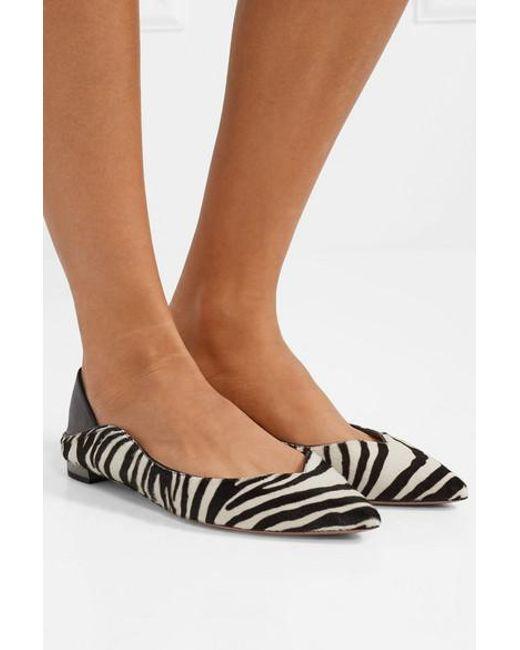 29a4660eaac3 ... Aquazzura - Multicolor Zen Zebra-print Calf Hair Collapsible-heel Point-toe  Flats ...