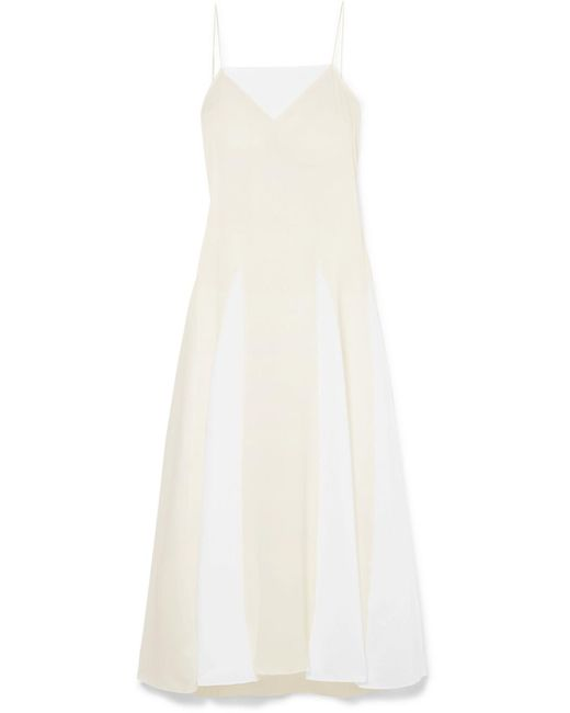 Three Graces London - White Ethel Silk And Cotton-voile Dress - Lyst