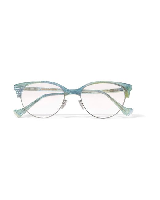 Cutler & Gross - Blue Ariel Cat-eye Glittered Acetate And Silver-tone Optical Glasses - Lyst