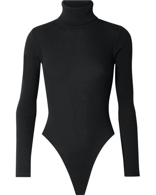 Re/done - Black Ribbed Stretch-cotton Jersey Turtleneck Thong Bodysuit - Lyst