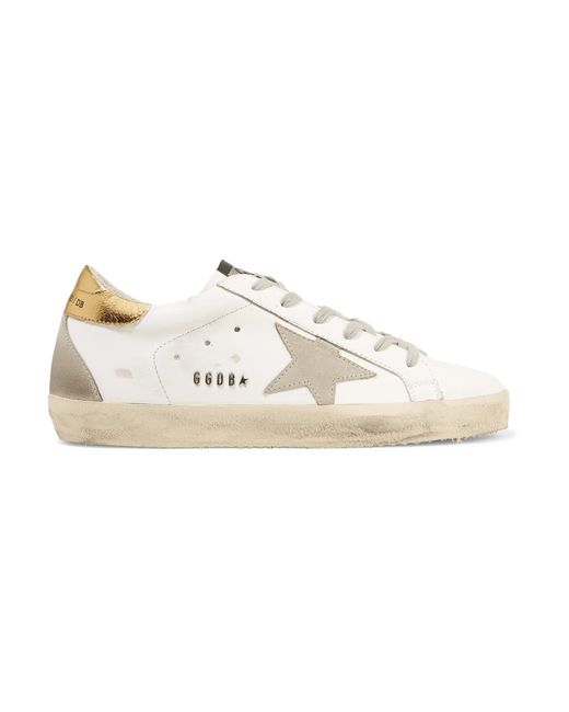 Golden Goose Deluxe Brand - White Superstar Distressed Leather And Suede Sneakers - Lyst