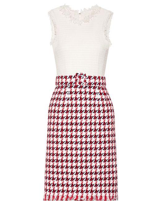 Oscar de la Renta | Red Fringed Houndstooth Cotton-blend Tweed Dress | Lyst