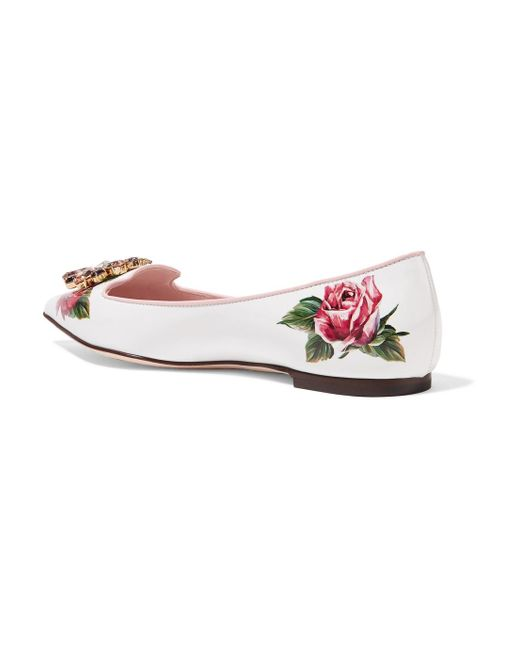 Embellished Floral-print Patent-leather Point-toe Flats - White Dolce & Gabbana NcmEBe