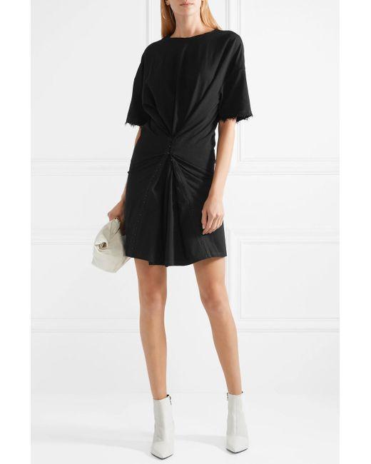 Lace-trimmed Gathered Cotton-blend Jersey Mini Dress - Black Opening Ceremony ypu02CK