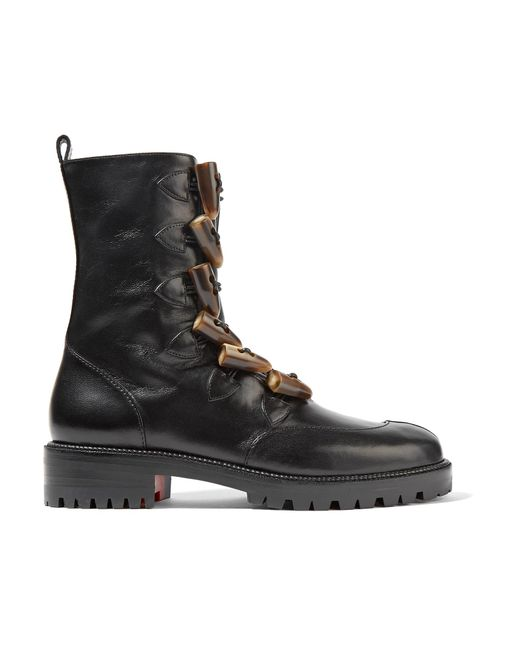 Christian Louboutin - Black Kloster Shearling-lined Leather Boots - Lyst