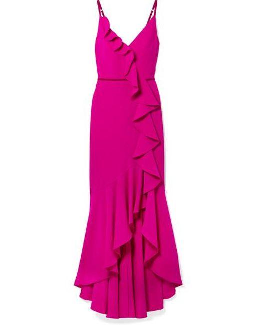 Women S Pink Velvet Trimmed Ruffled Crepe Gown