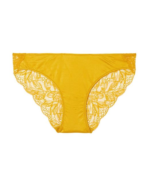 Hanro - Yellow Fleur Stretch-satin And Leavers Lace Briefs - Lyst