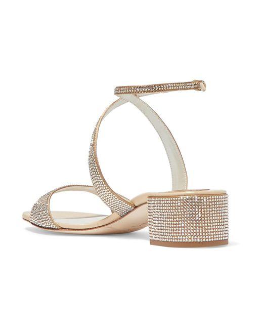 4ae5364c444667 ... Rene Caovilla - Krisabrita Crystal-embellished Metallic Leather Sandals  - Lyst ...