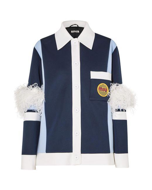 82d0873ee6e Miu Miu - Blue Feather-trimmed Color-block Neoprene Jacket - Lyst ...