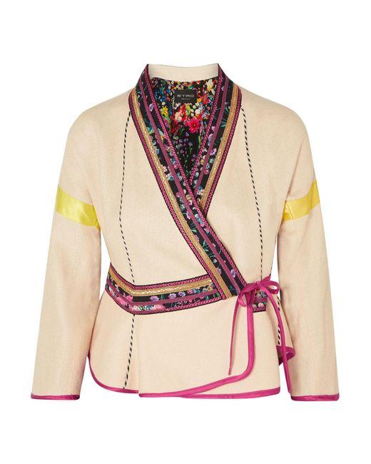 Etro - Multicolor Satin-trimmed Embroidered Linen-blend Wrap Jacket - Lyst
