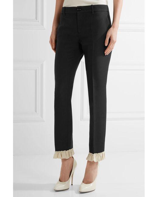 Ruffle-trimmed Silk And Wool-blend Skinny Pants - Black Gucci 82Wpbn