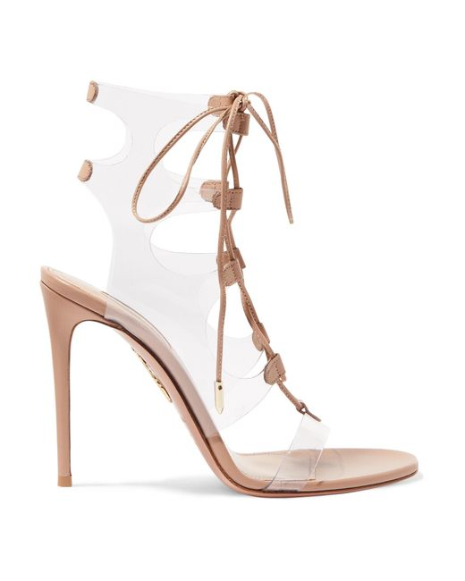 70606ba796d Aquazzura - Multicolor Milos 105 Leather And Pvc Sandals - Lyst ...