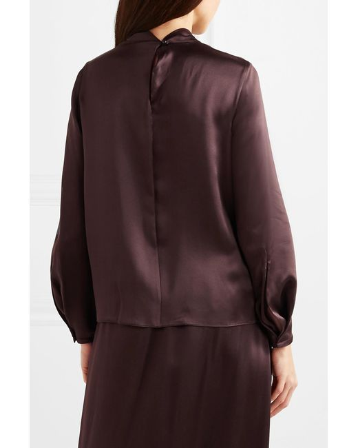 c6cd3cf733a5e0 ... Vince - Brown Knotted Silk-satin Blouse - Lyst ...