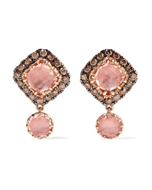 Larkspur & Hawk - Multicolor Caprice Cushion 14-karat Rose Gold, Diamond And Quartz Earrings - Lyst